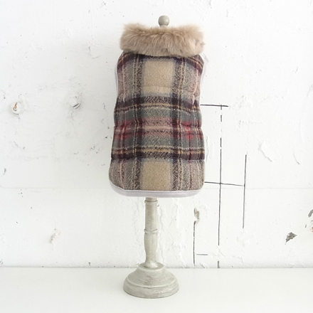 wear fadee check wool vest natural