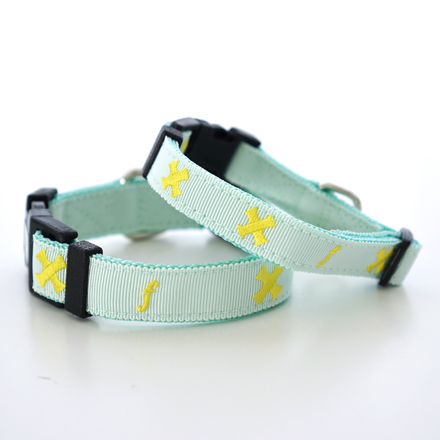 SALE20%OFF collar tape cross mint x yellow