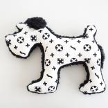 dog plush toy schnauzer monogram white x black