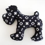 dog plush toy schnauzer monogram black