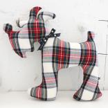 living f dog cushion tartan check white